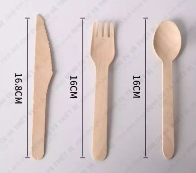 set wooden spoon, fork, knife